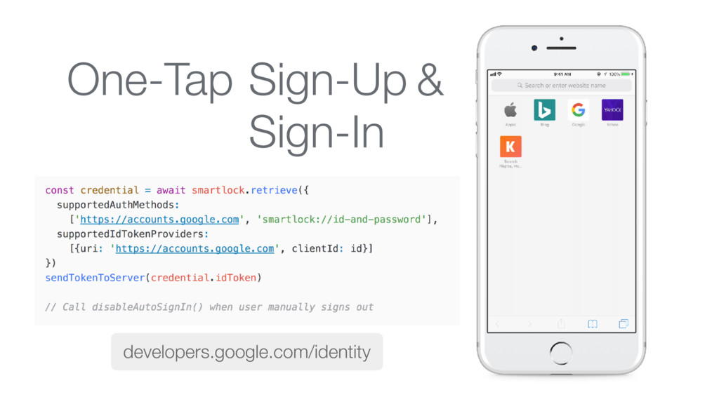 One-Tap Sign-In Sign-Up & developers.google.com...