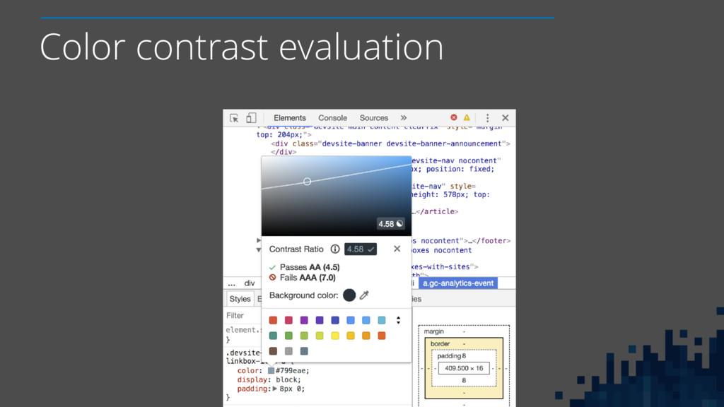 Color contrast evaluation