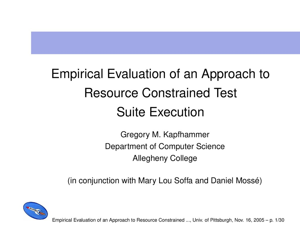 Empirical Evaluation of an Approach to Resource...