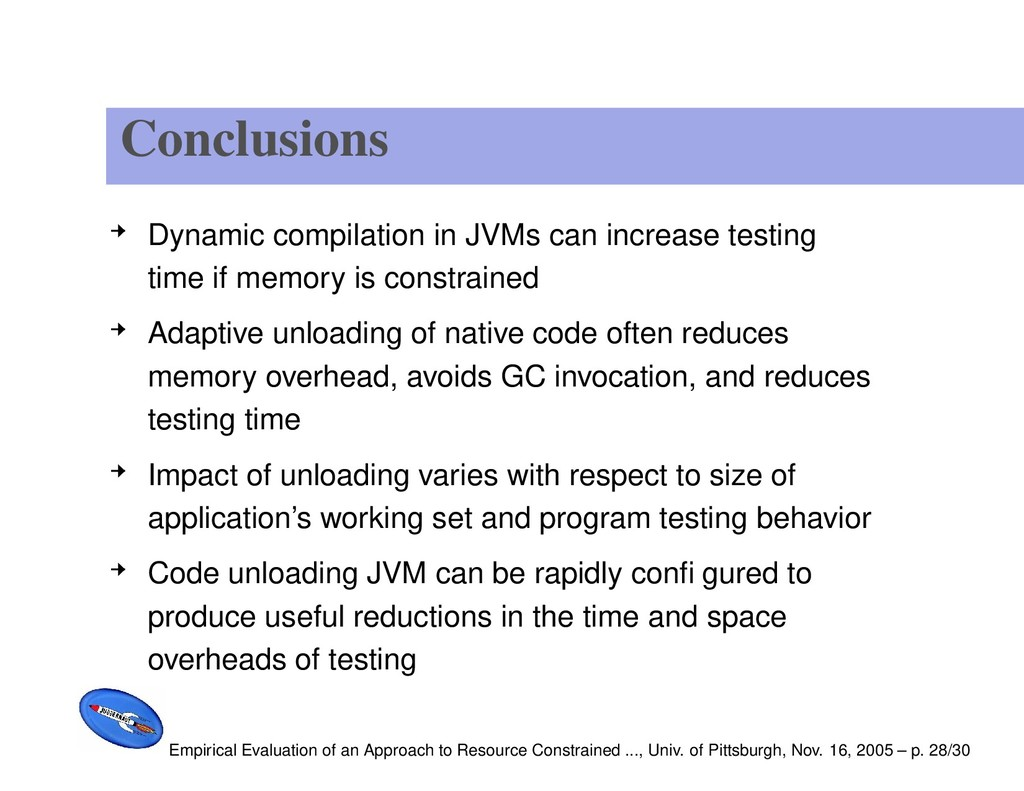 Conclusions Dynamic compilation in JVMs can inc...