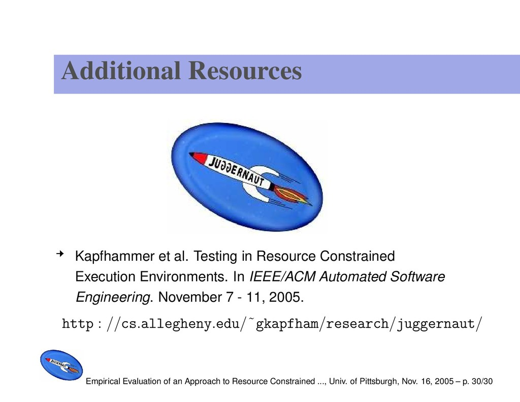 Additional Resources Kapfhammer et al. Testing ...