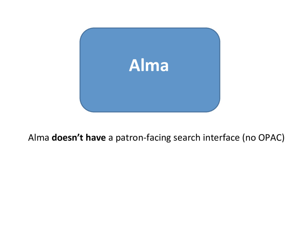 Alma Alma doesn't have a patron-facing search i...