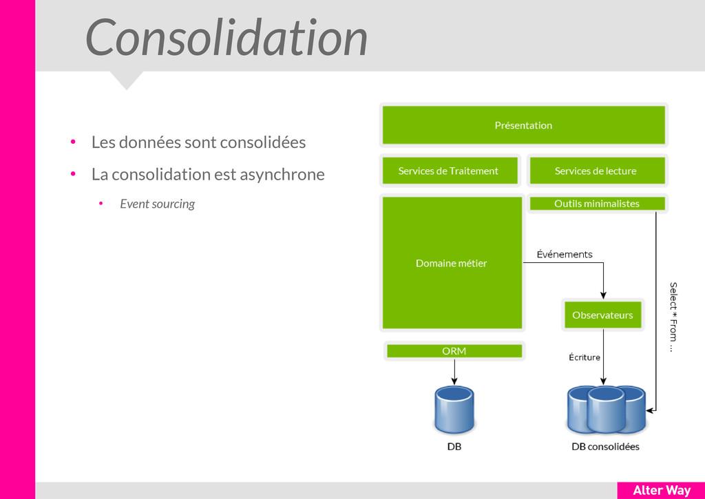 Consolidation ● Les données sont consolidées ● ...