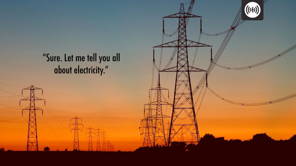 """""""Sure. Let me tell you all about electricity."""""""