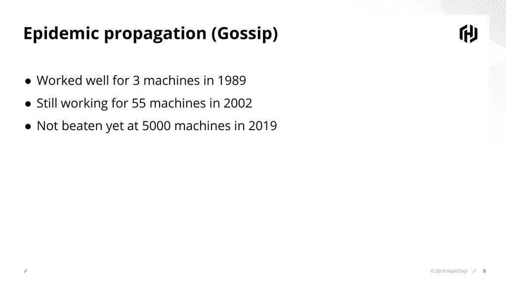© 2019 HashiCorp 8 Epidemic propagation (Gossip...