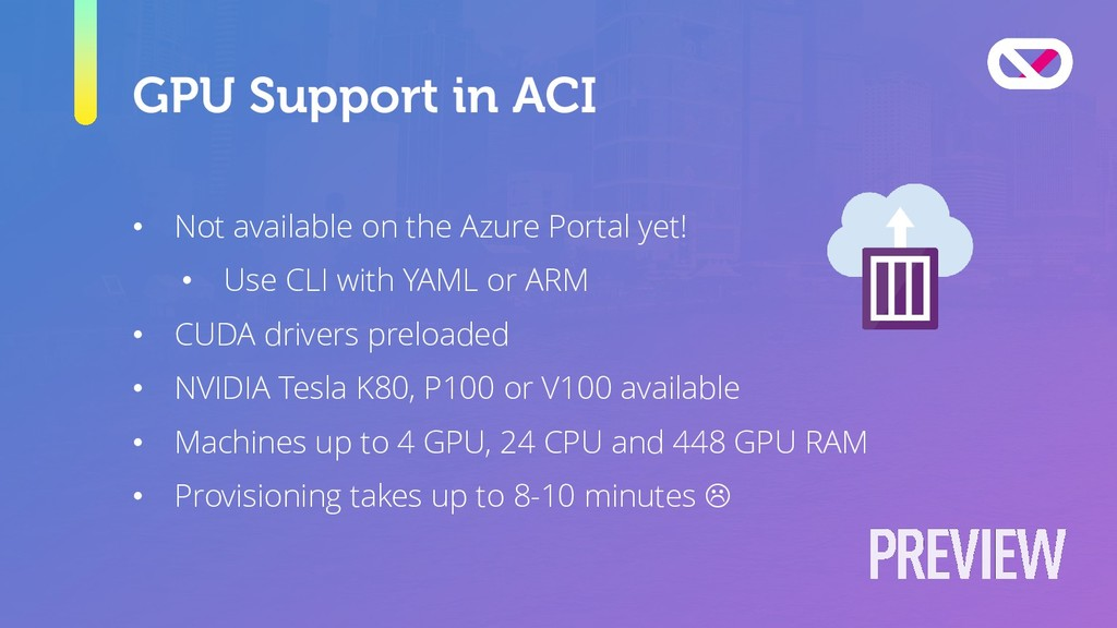 GPU Support in ACI • Not available on the Azure...