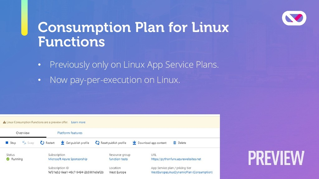 Consumption Plan for Linux Functions • Previous...