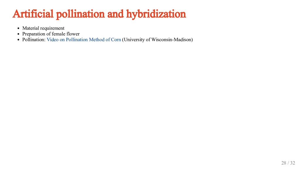Artificial pollination and hybridization Materi...