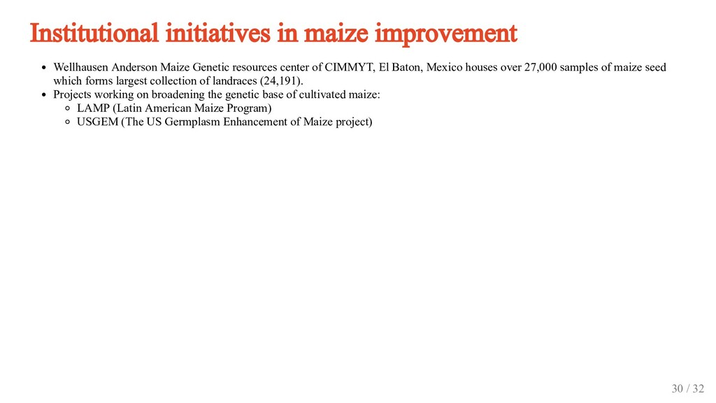Institutional initiatives in maize improvement ...