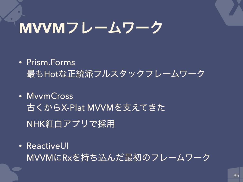 MVVMϑϨʔϜϫʔΫ • Prism.Forms ࠷Hotͳਖ਼౷ϑϧελοΫϑϨʔϜϫ...