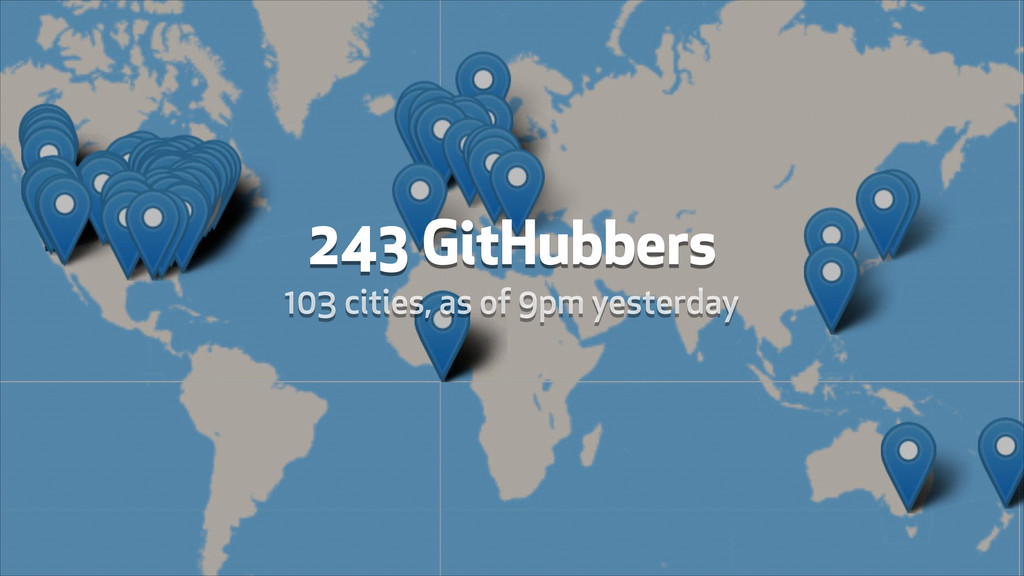 243 GitHubbers 103 cities, as of 9pm yesterday