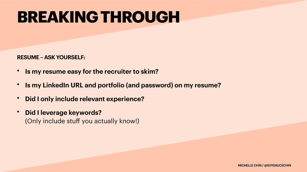 MICHELLE CHIN / @SOYSAUCECHIN RESUME – ASK YOUR...