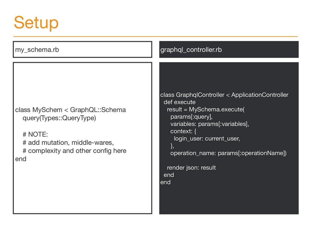 Setup class MySchem < GraphQL::Schema  query(Ty...