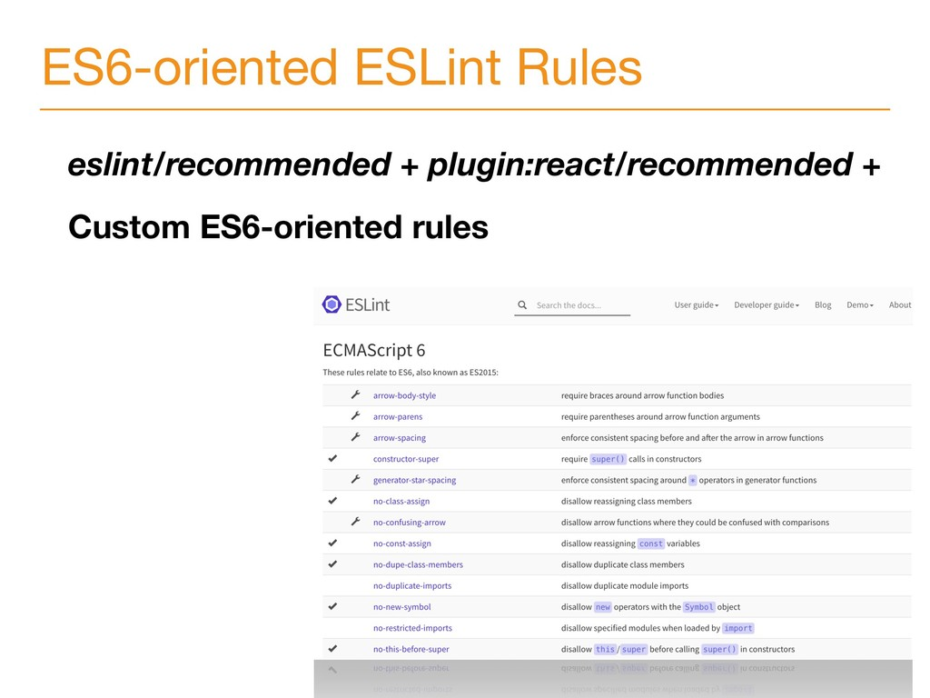 ES6-oriented ESLint Rules eslint/recommended + ...