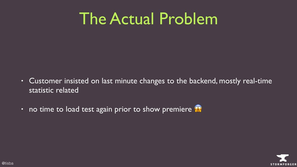 @tisba The Actual Problem • Customer insisted o...