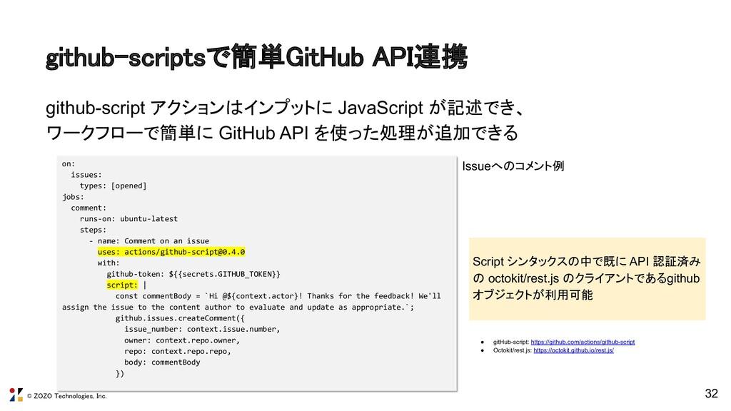 © ZOZO Technologies, Inc. github-scriptsで簡単GitH...