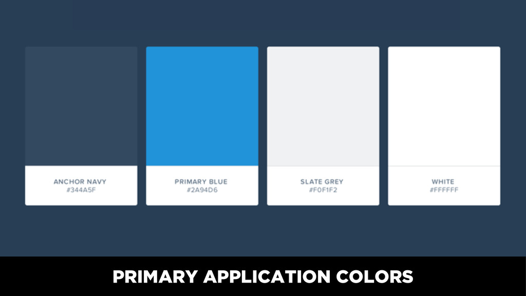 PRIMARY APPLICATION COLORS