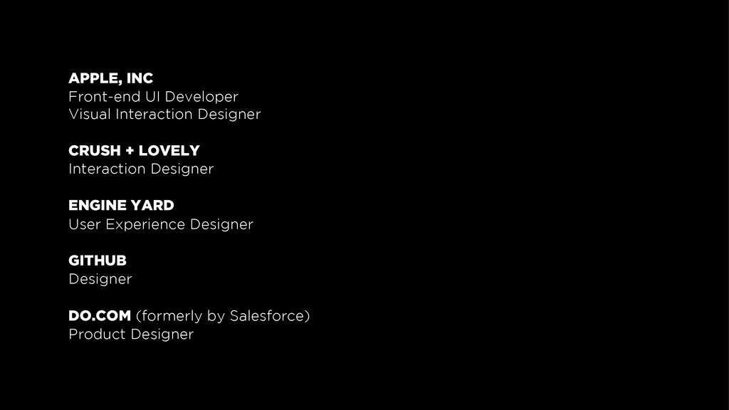 APPLE, INC Front-end UI Developer Visual Intera...