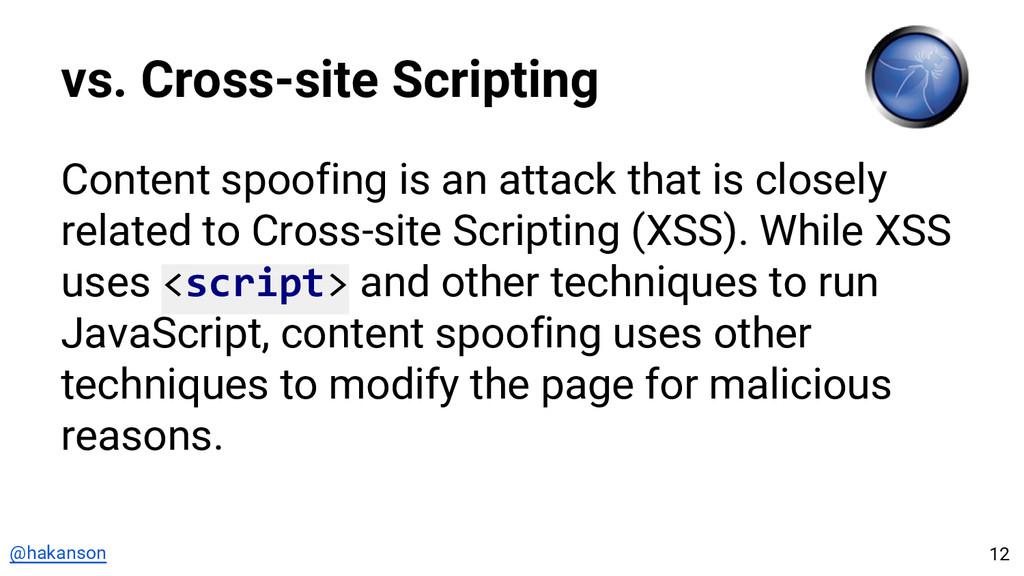 @hakanson vs. Cross-site Scripting Content spoo...
