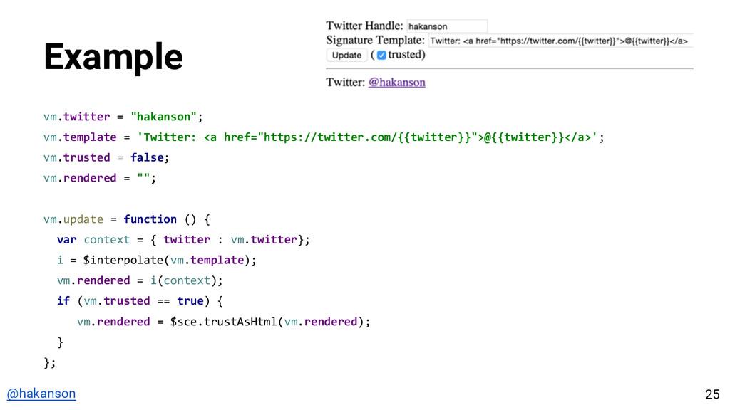 "@hakanson Example vm.twitter = ""hakanson""; vm.t..."