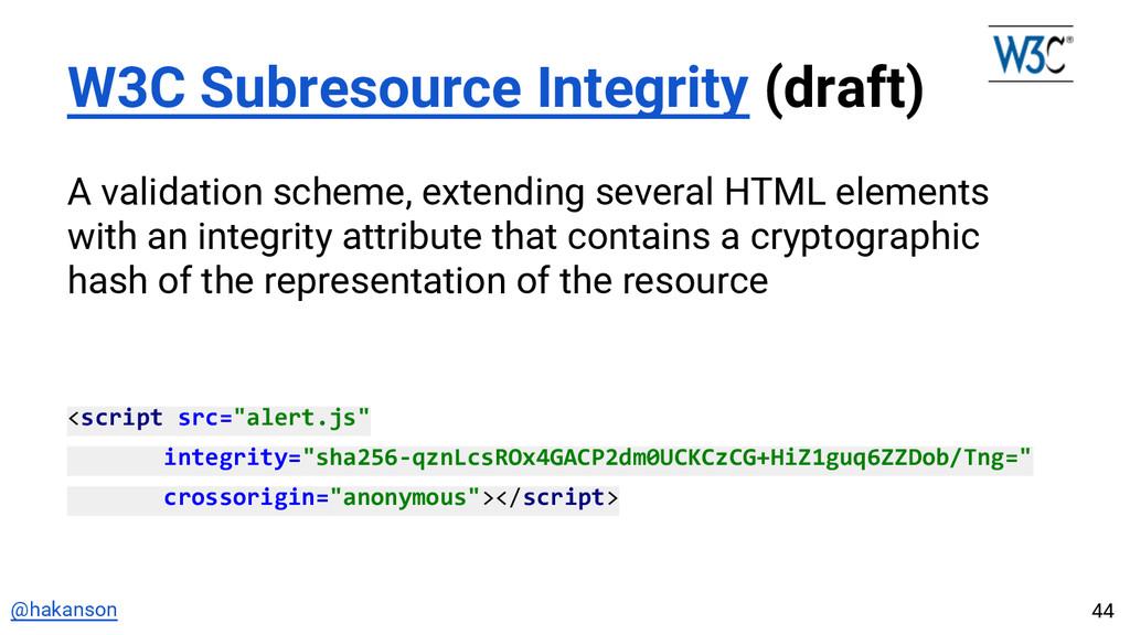 @hakanson W3C Subresource Integrity (draft) A v...