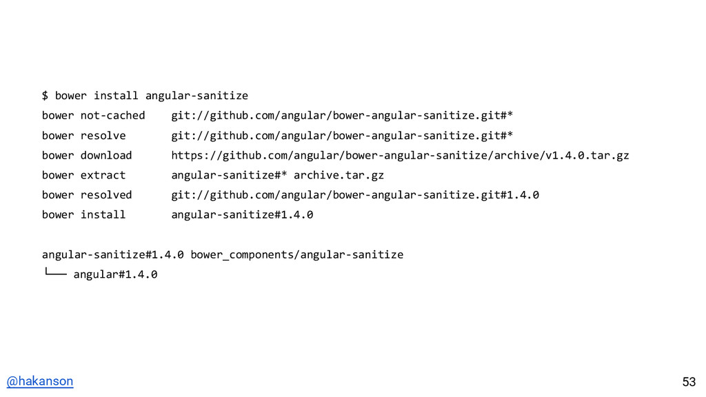 @hakanson $ bower install angular-sanitize bowe...