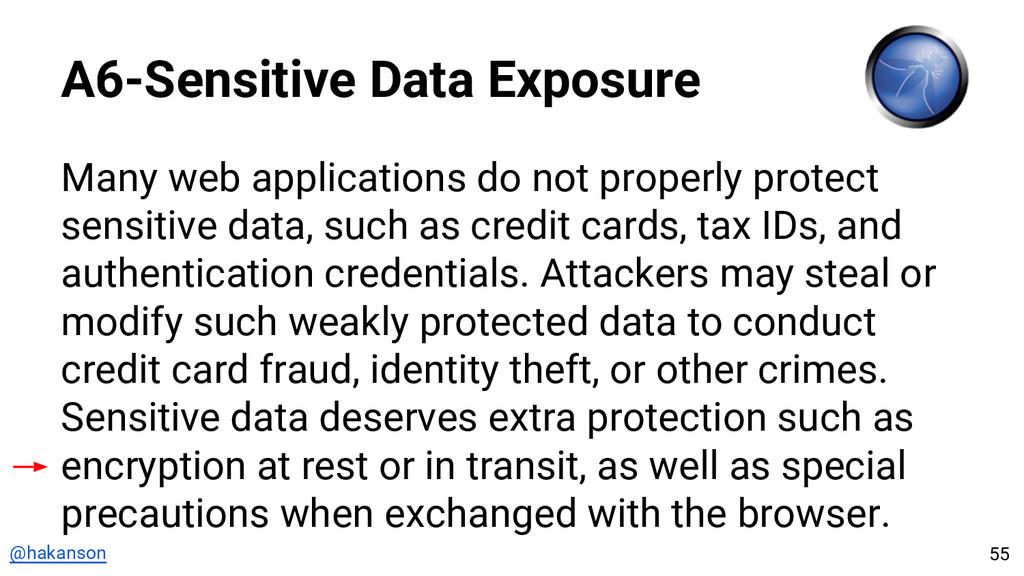 @hakanson A6-Sensitive Data Exposure Many web a...