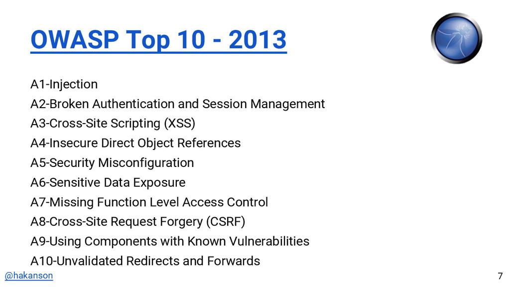@hakanson OWASP Top 10 - 2013 A1-Injection A2-B...