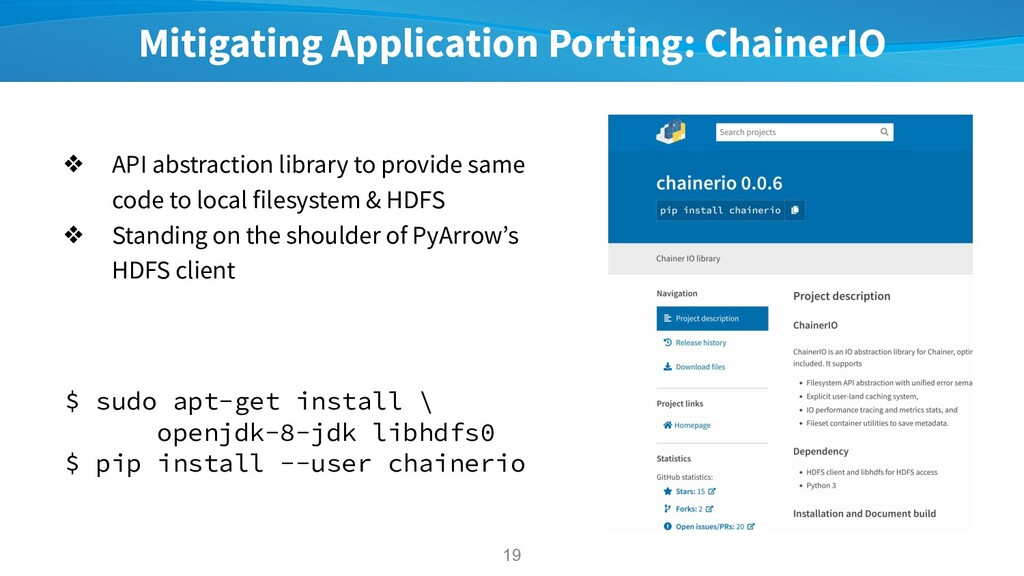 Mitigating Application Porting: ChainerIO ❖ API...