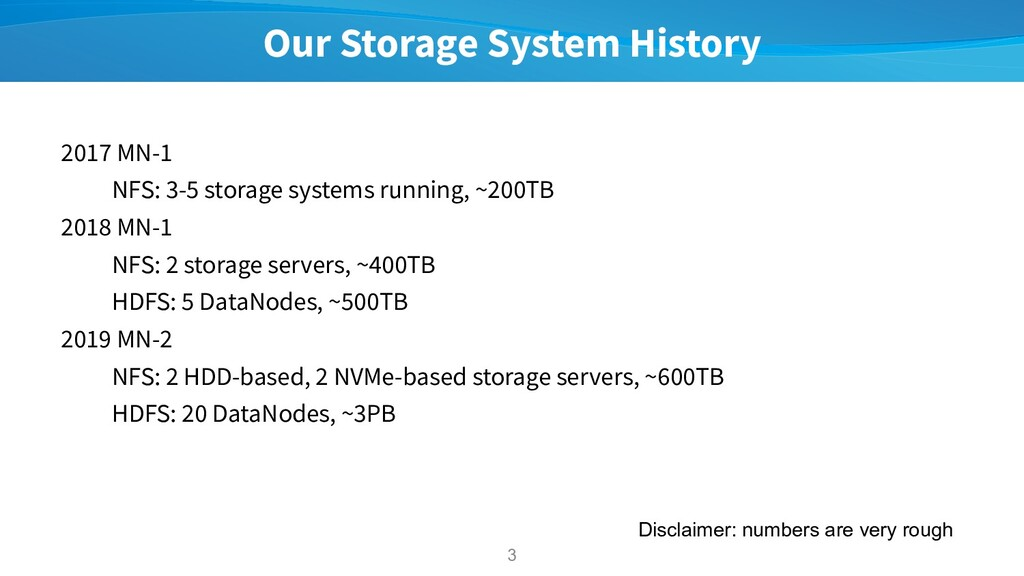 Our Storage System History 2017 MN-1 NFS: 3-5 s...