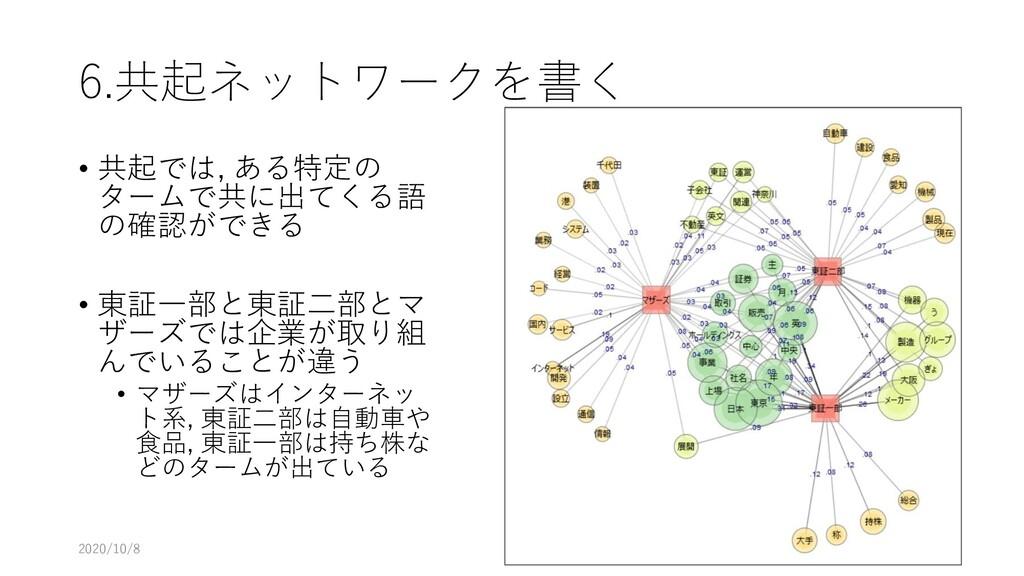 6.共起ネットワークを書く • 共起では, ある特定の タームで共に出てくる語 の確認ができる...