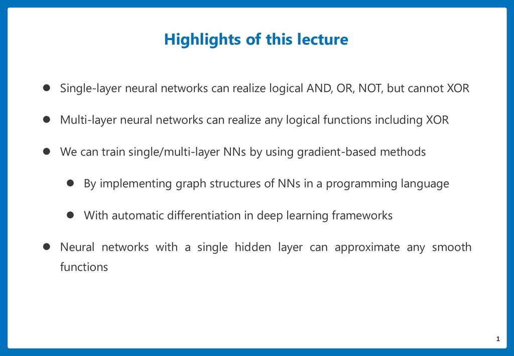 Highlights of this lecture  Single-layer neura...