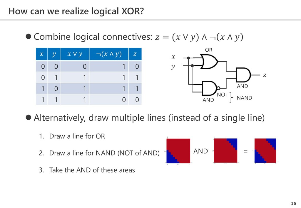 How can we realize logical XOR? 16  Combine lo...