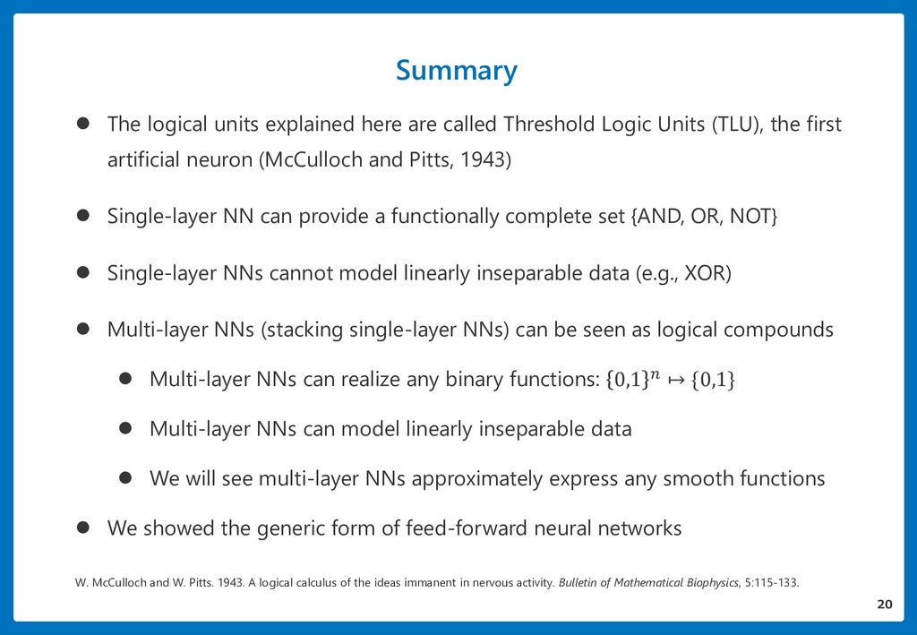 Summary  The logical units explained here are ...