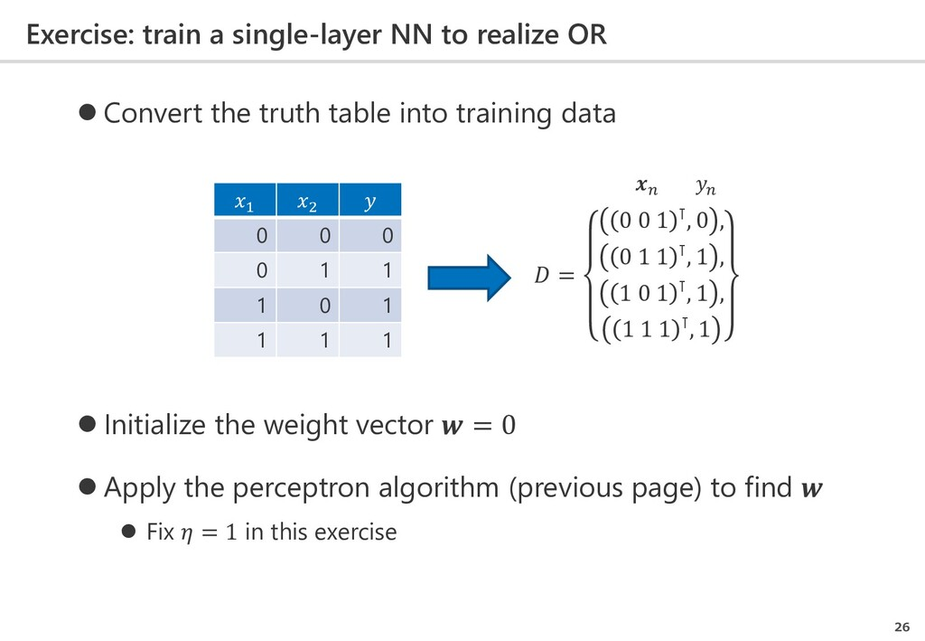 Exercise: train a single-layer NN to realize OR...