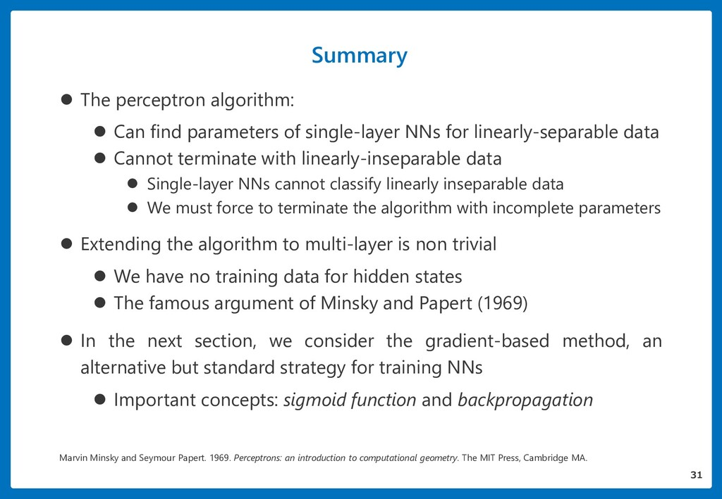 Summary 31  The perceptron algorithm:  Can fi...
