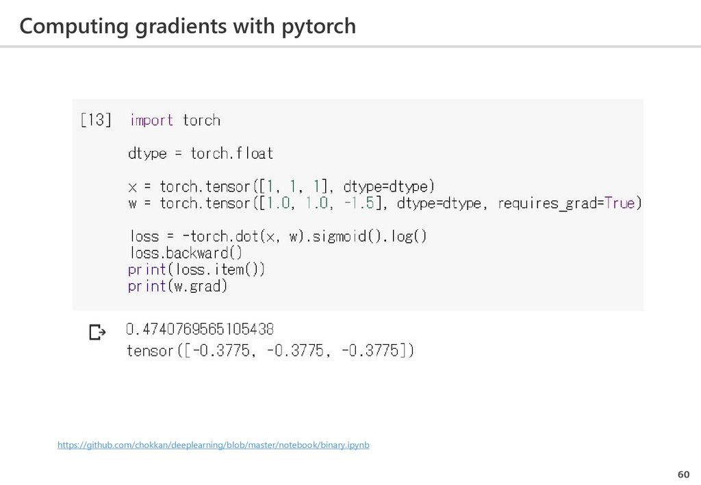 Computing gradients with pytorch 60 https://git...