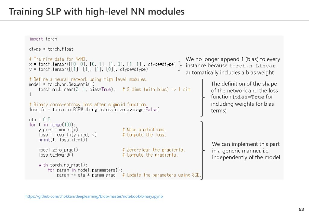 Training SLP with high-level NN modules 63 The ...