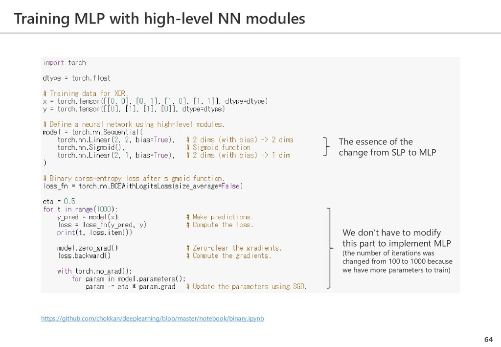 Training MLP with high-level NN modules 64 The ...