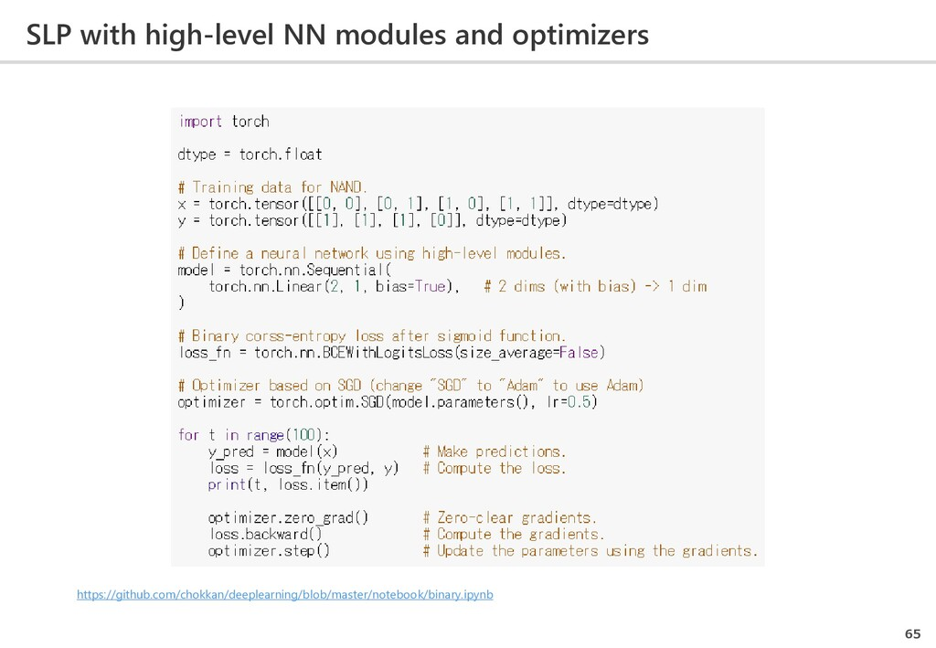 SLP with high-level NN modules and optimizers 6...