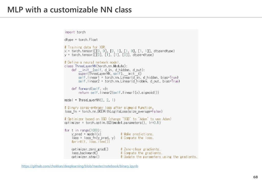 MLP with a customizable NN class 68 https://git...