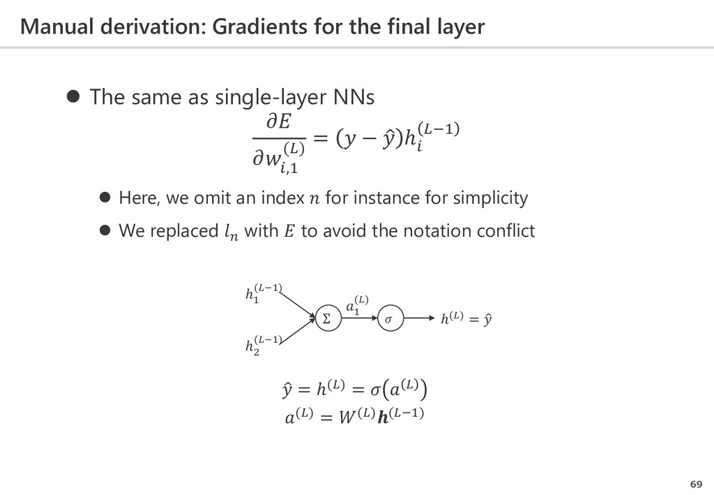 Manual derivation: Gradients for the final laye...