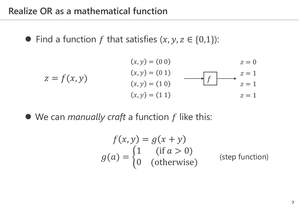 Realize OR as a mathematical function 7  Find ...