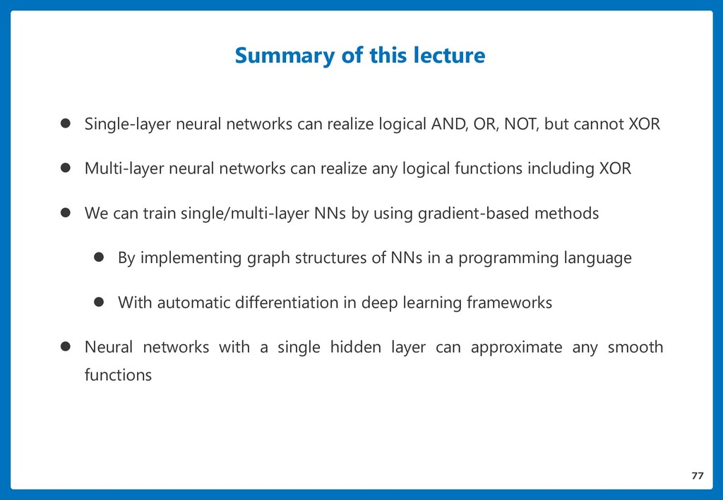 Summary of this lecture  Single-layer neural n...