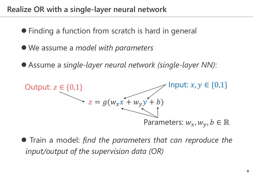 Realize OR with a single-layer neural network 8...