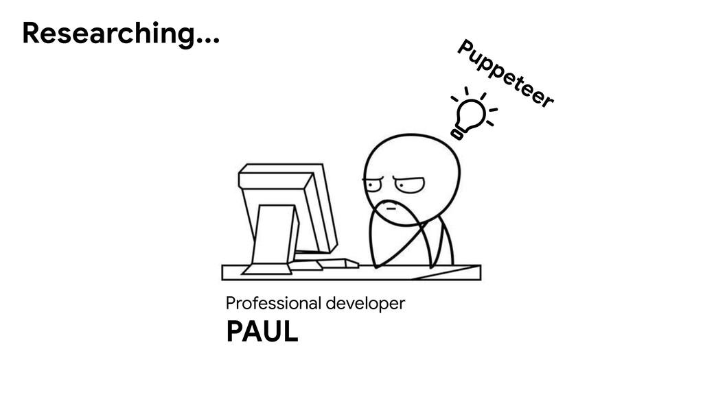Professional developer PAUL Researching... Pupp...