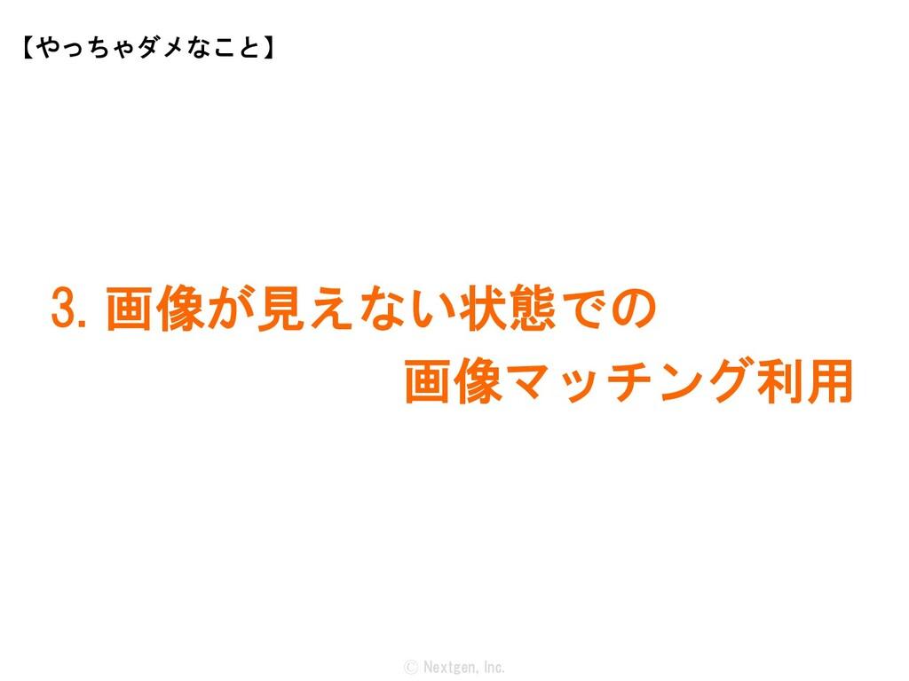 Ⓒ Nextgen, Inc. 3. 画像が見えない状態での 画像マッチング利用 【やっちゃダ...