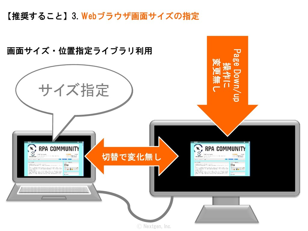 Ⓒ Nextgen, Inc. 【推奨すること】3. Webブラウザ画面サイズの指定 切替で変...