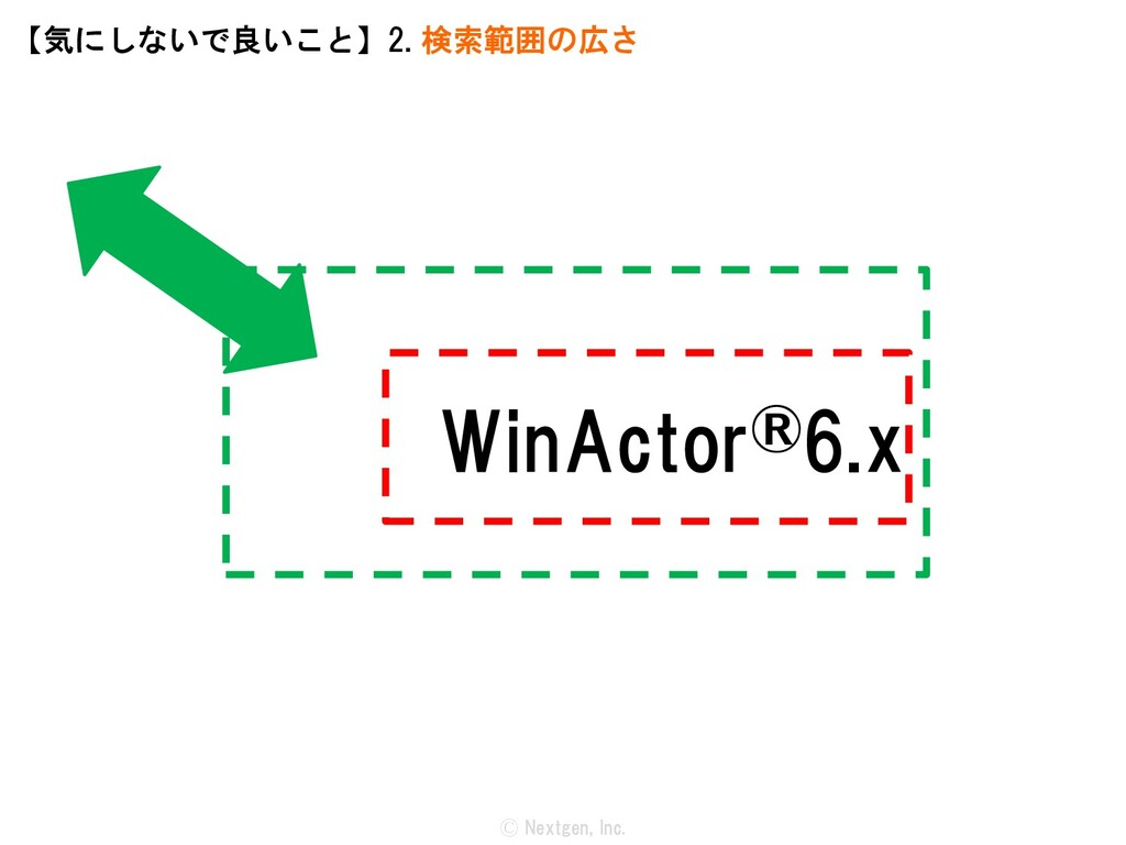 WinActor®6.x Ⓒ Nextgen, Inc. 【気にしないで良いこと】2. 検索範...