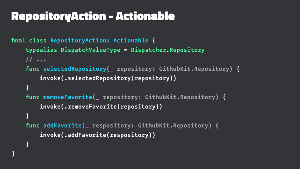 RepositoryAction - Actionable final class Reposi...